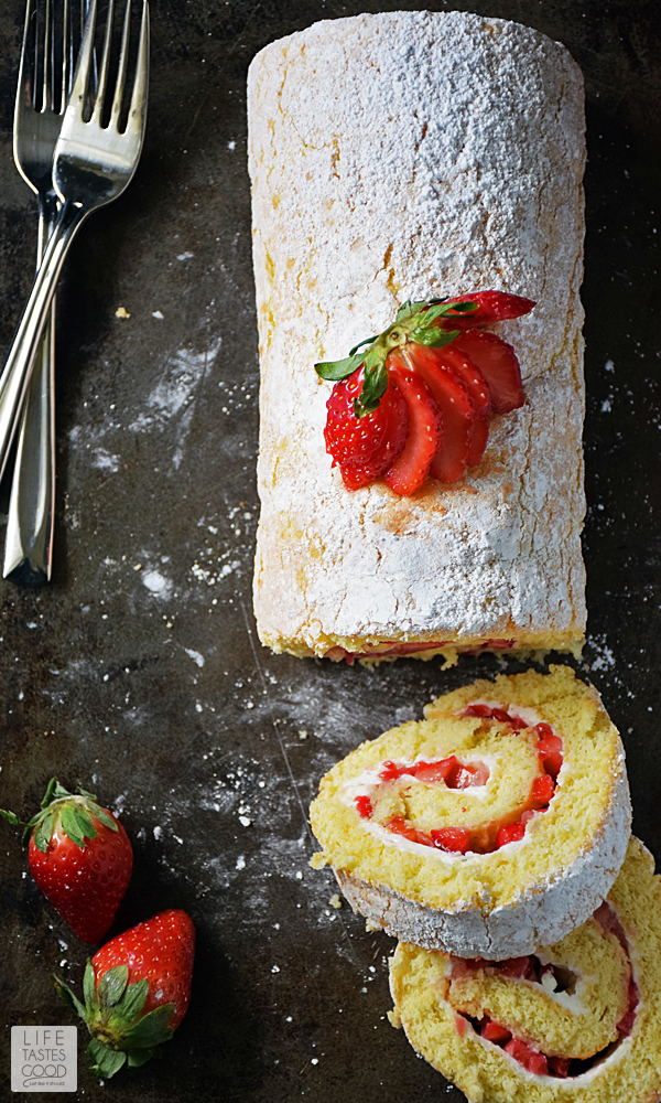 Strawberry Jelly Roll Cake | by Life Tastes Good just in time for Valentine's Day! You already make their heart go pitter patter, so why not treat their taste buds to this rich, delicious cake with fresh Florida strawberries all rolled up into a pretty package. #LTGrecipes