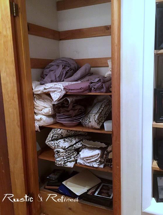 Linen Closet Organization - Rustic & Refined