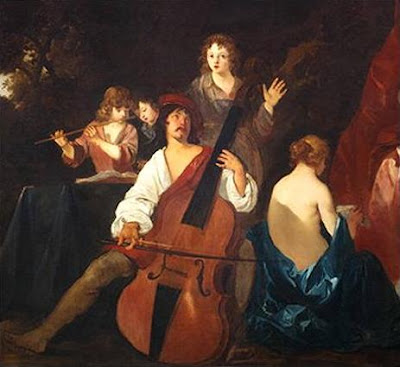 Violone or great bass viol. Painting by Sir Peter Lely, c. 1640,