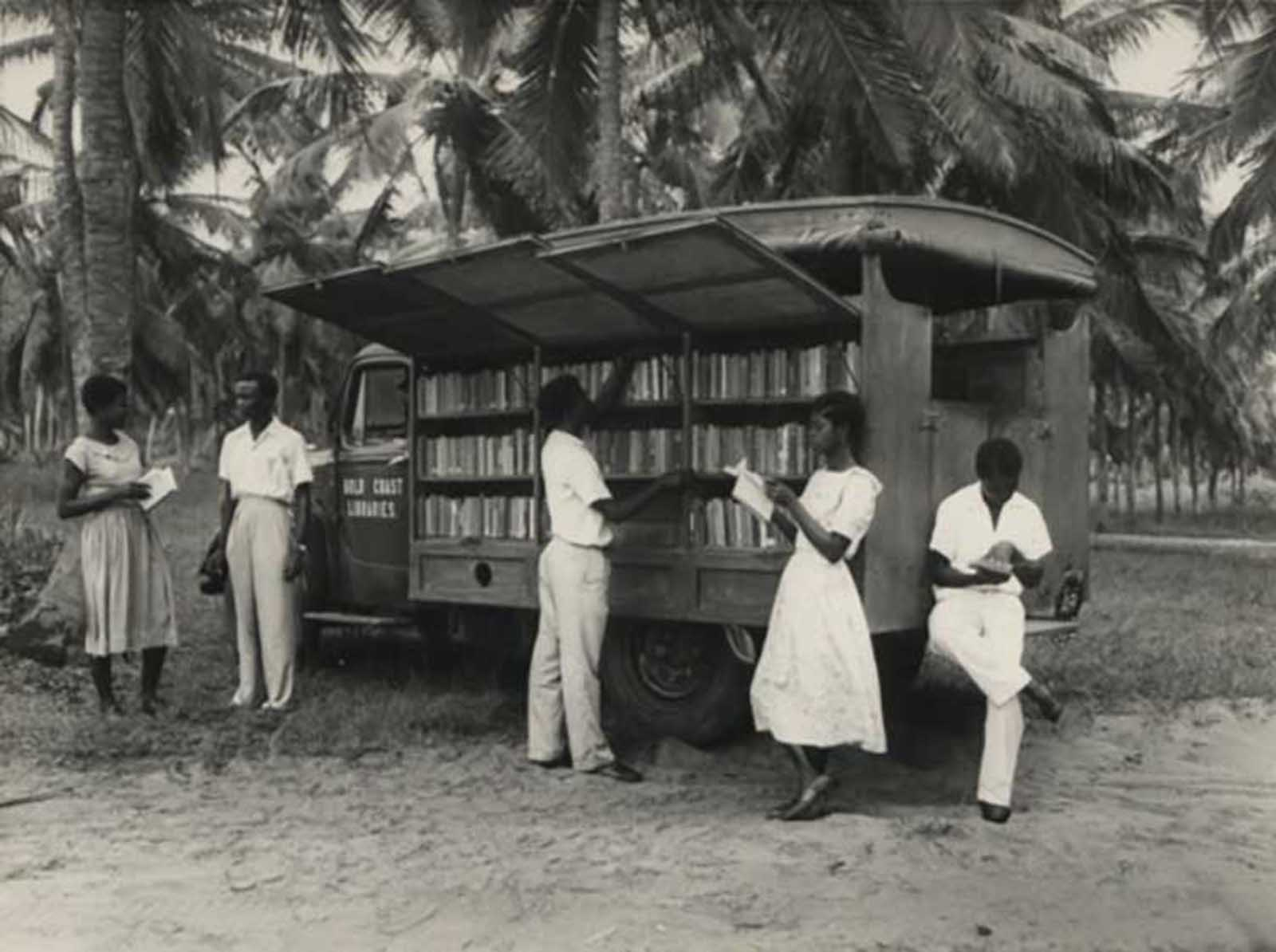 A bookmobile in Accra, Ghana, 1950s.