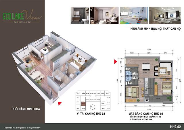 Căn hộ 02, diện tích 67m2 - 2 phòng ngủ