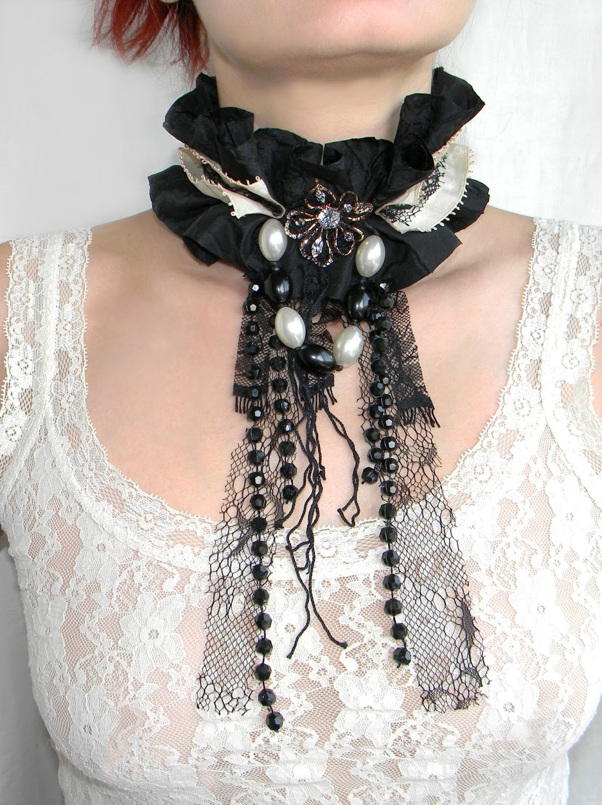 Victorian Gothic Noir Choker Necklace Textile Black and Creamy Ruffled Choker