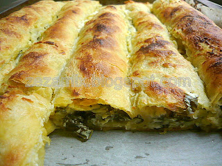 Baked chard and cheese strudel