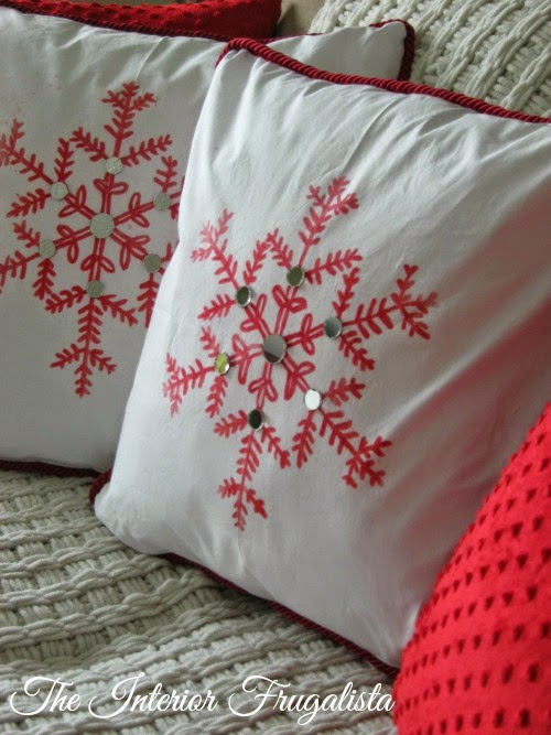 DIY Holiday Snowflake Pillows with mini mirrors