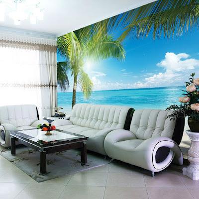 vardagsrumtapet havsutsikt tropisk hav palmer 3d fondtapet