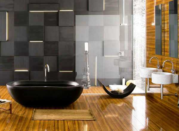 Captivating Materials Of This Type Are Widely Used In Modern Bathroom Design. By Using  Glass As A Material Bathroom Wall It ...