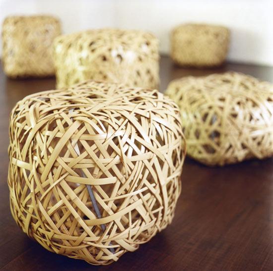 bola bola bangku bambu unik