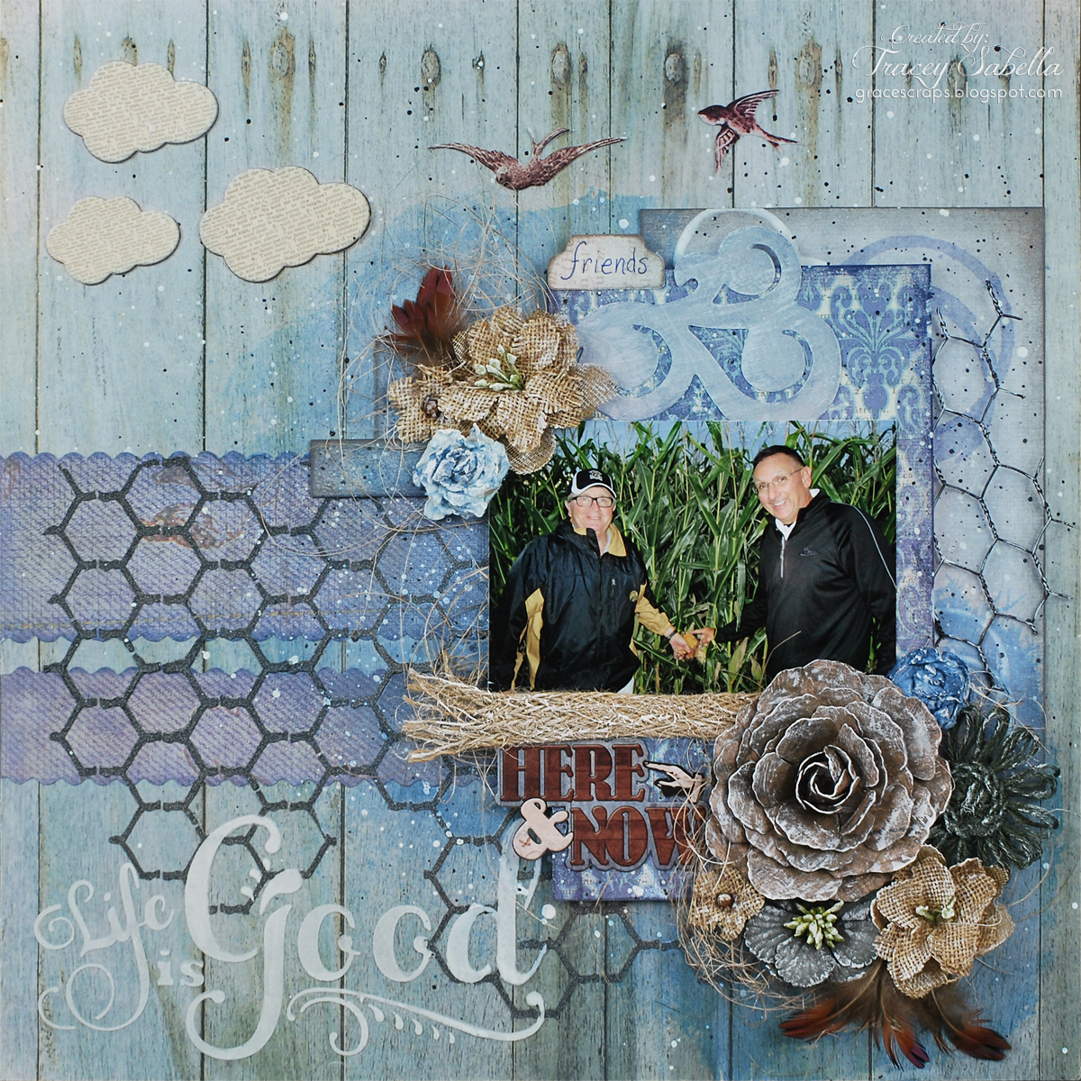 Life is Good by Tracey Sabella for Donna Salazar, handcrafted flower, masculine, chicken wire