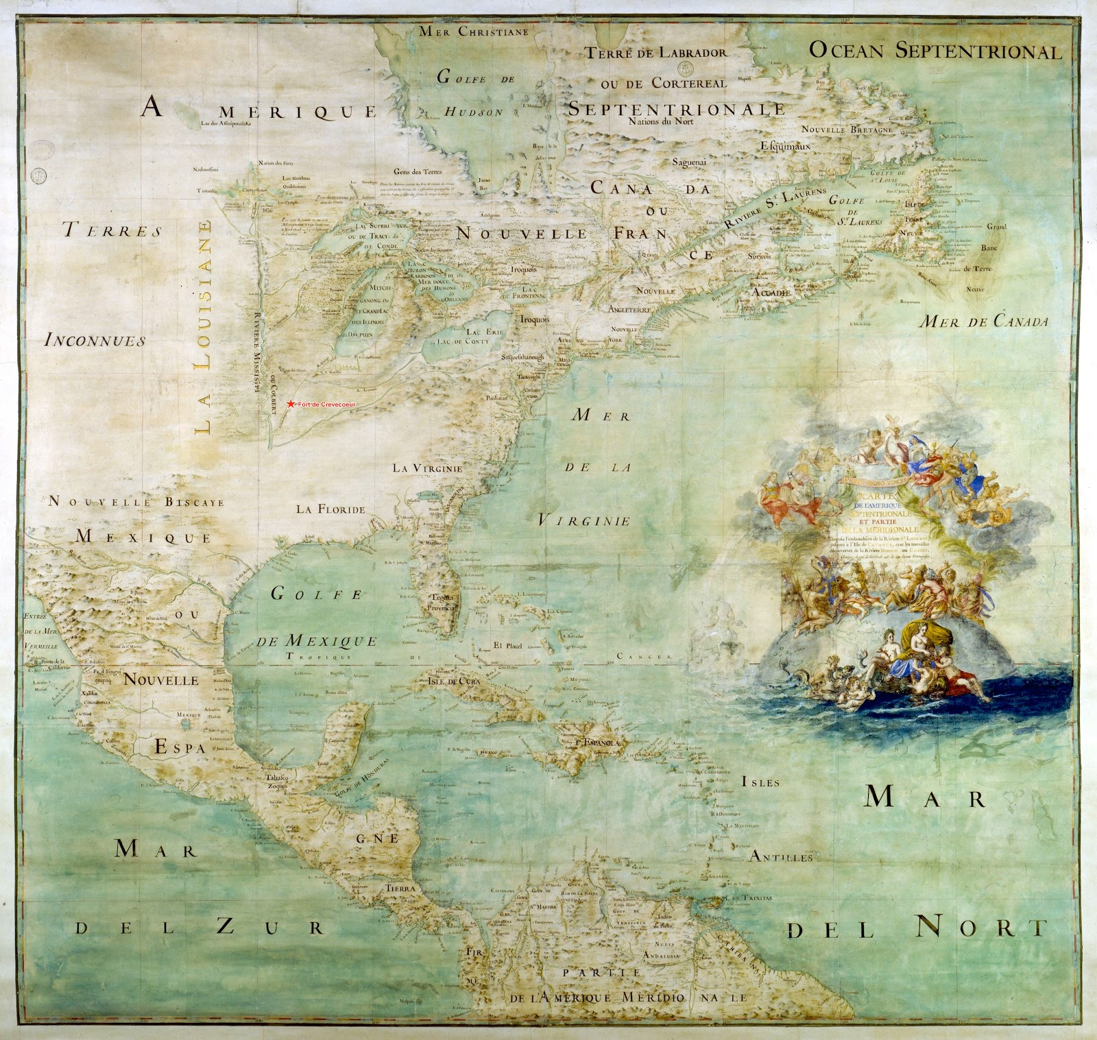 antique french map of north america in 1681 by claude bernou showing fort de crevecoeur location click for a jumbo sized map