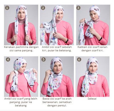 Cara Mudah Memakai Jilbab Segi Empat