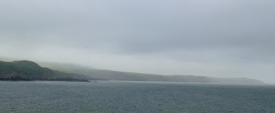 Foggy and grey around the coast, looking towards Strumble Head