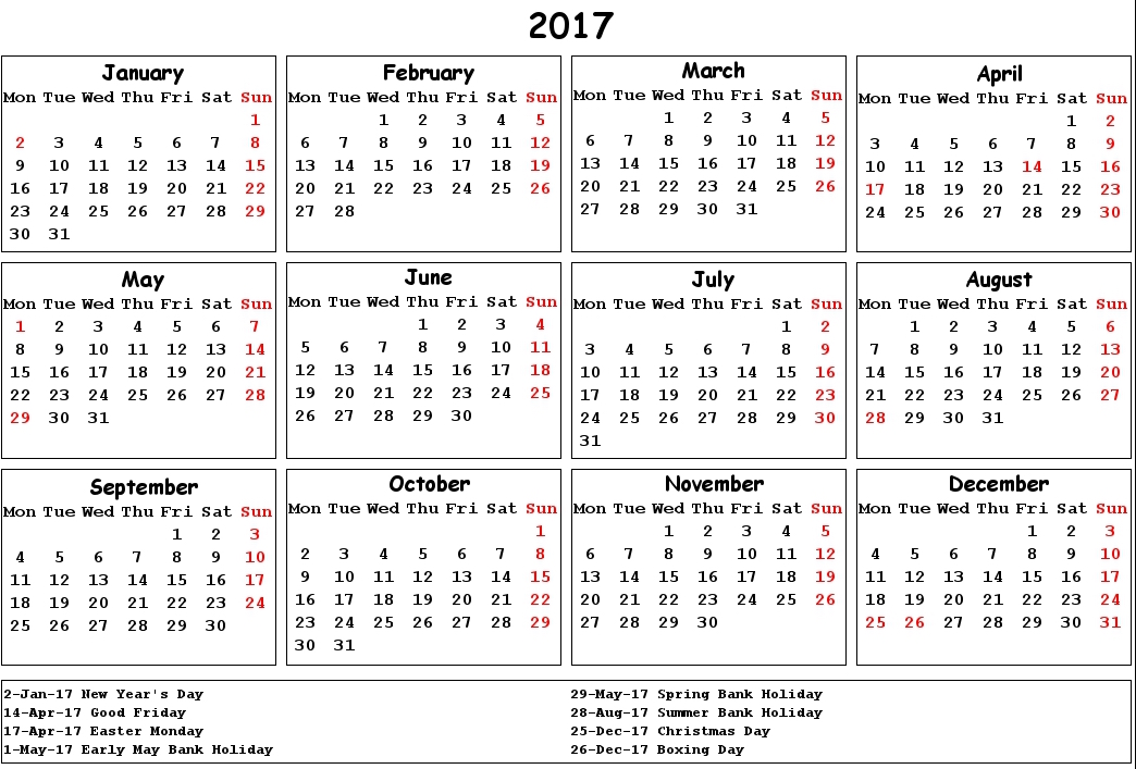 Calendar Dates For 2017 Year