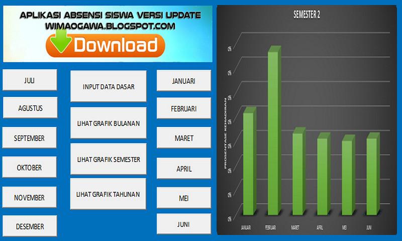 Aplikasi Absensi Siswa Versi Excel Plus Grafik Bulanan, Semester dan Tahunan