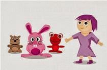 La muñeca y los peluches de los niños y niñas.