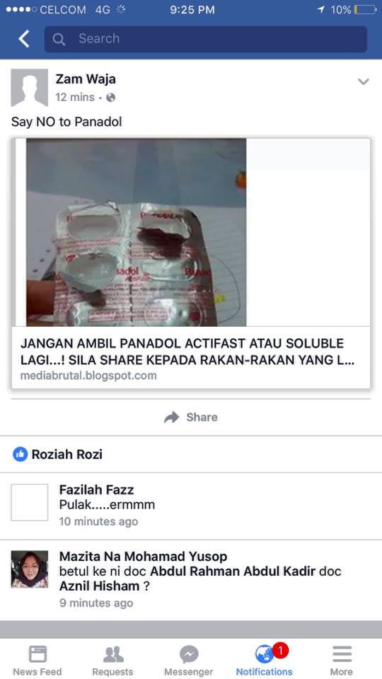 MENANGKIS PEMBOHONGAN BAHAYA PANADOL