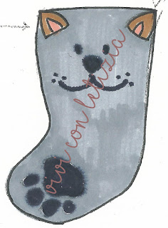 Cartamodello Calze della befana gatto - cat christmas stocking