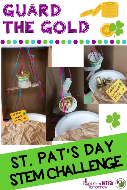 St. Patrick's Day STEM Challenge: In Guard the Gold, students build one or more devices to help a leprechaun guard his pot of gold from thieves! Comes with modifications for grades 2-8.