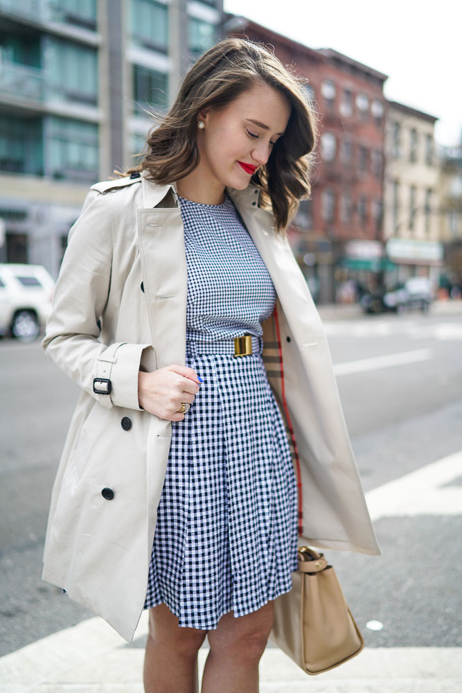 Krista Robertson, Covering the Bases, Travel Blog, NYC Blog, Preppy Blog, Style, Women's Fashion Blog, Fashion, Fashion Blog, Michael Kors, Burberry Trench Coat, Gingham Dress, Blue & White Dresses, Spring Style