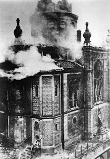 Wiesbaden, Germany, a Synagogue in Flames during Kristallnacht
