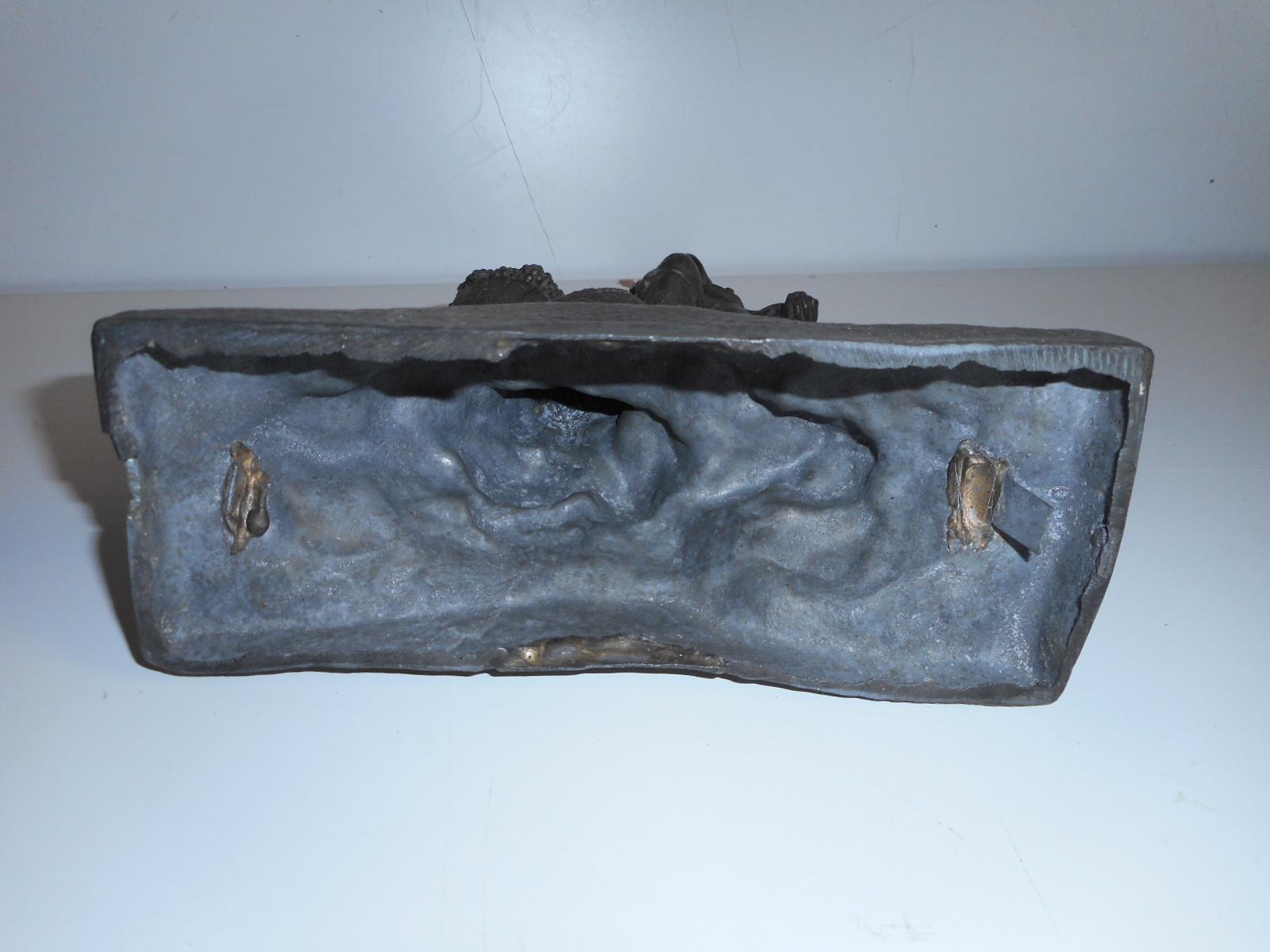 Antiques Antico Candelabro In Antimonio Con Sotto Un Portacenere Come Base Di Marmo Silverplate