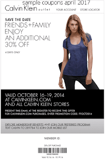 Calvin Klein coupons april