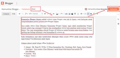 Cara Membuat Halaman About di blog