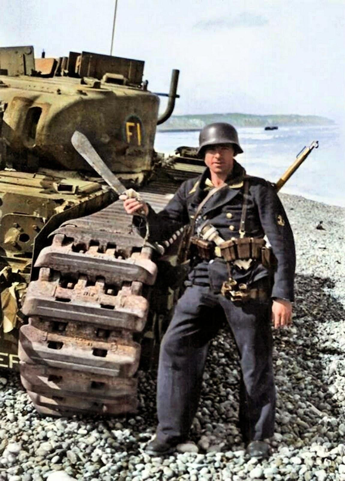 World War II in Color: Kriegsmarine Sailor Posed Next to ...