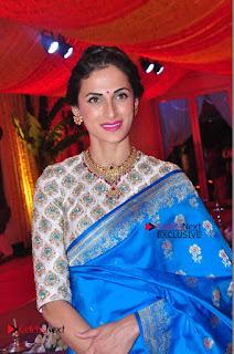 Actress Model Shilpa Reddy Exclusive Stills in Blue Saree at Vijay Karan Aashna Wedding  0046.JPG