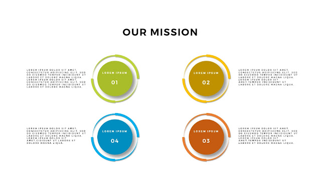 Free Infographic PowerPoint Template for Our Mission Presentation with 4 Shadowed Circular Digrams