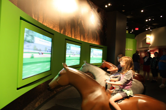 Interactive horse riding game at the Kentucky Derby Museum