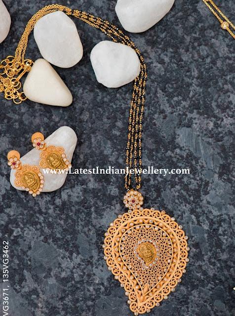 Mango Lakshmi Pendant for Black Beads