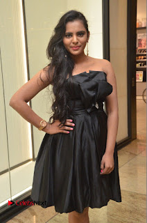 Actress Manasa Himavarsha Pictures in Black Short Dress at The Great Hydrerabad Life Style EXPO II  0033.JPG