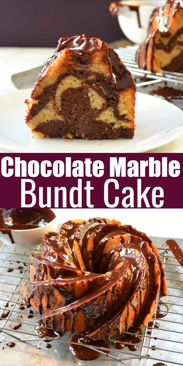 Chocolate Marble Bundt Cake recipe with a glossy chocolate cake. Moist Buttermilk Bundt Cake is Marbled with chocolate and covered with a delicious glaze. Perfect cake recipe for dessert from Serena Bakes Simply From Scratch.