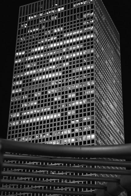 A photo of the square center of the three Azrieli towers in Tel Aviv.