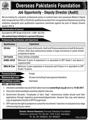 Deputy Director Jobs In Overseas Pakistanis Foundation Islamabad 30 April 2017