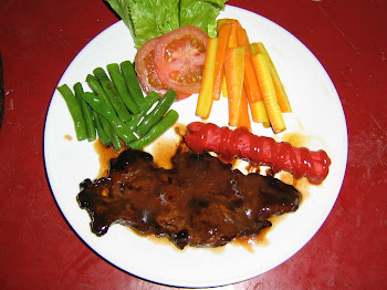 BBQ  STEAK  ON  PLATE