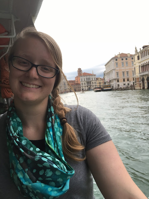 Meagan on a vaporetto on the Grand Canal.