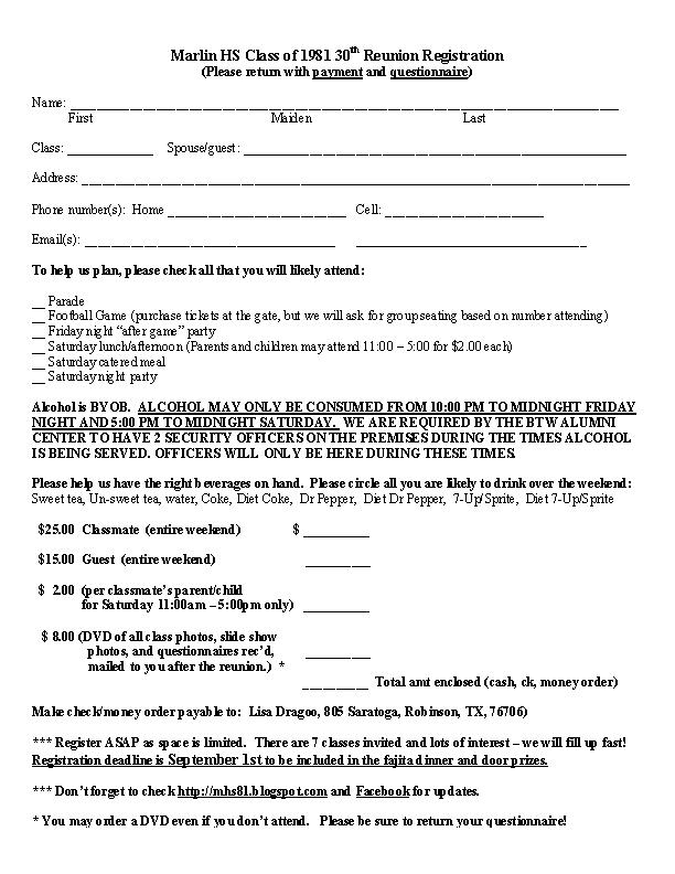 Mhs Class Of 81 30th Reunion Invitation Info