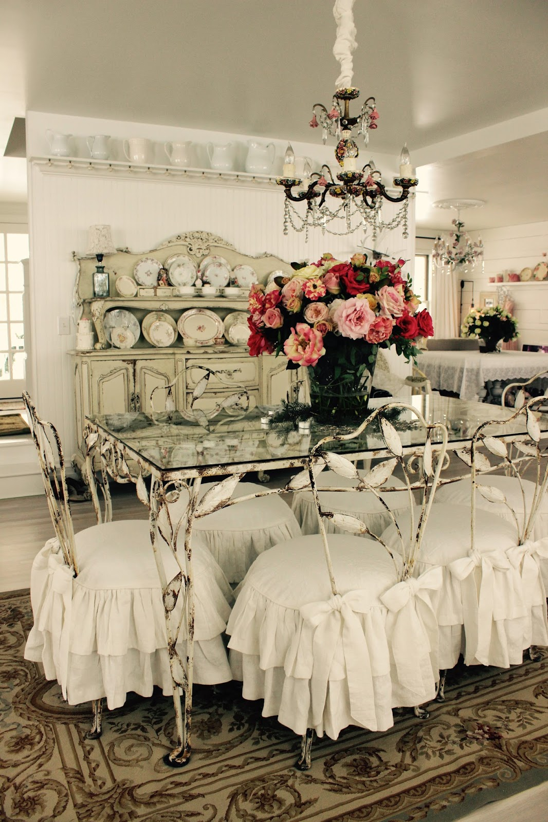 White Dining Room Chair Slipcovers Ikea Pad Custom By Shelley: Shabby Chic Ruffled