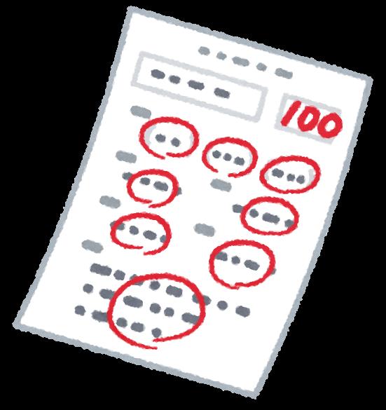 いろいろな答案用紙のイラスト(斜め)