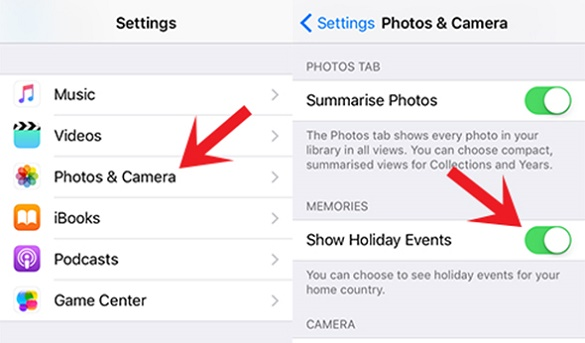 Show Holiday Events In Photos App