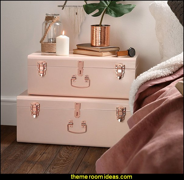 Blush Pink Vintage Style Steel Metal Storage Trunk Set with Rose Gold Handles