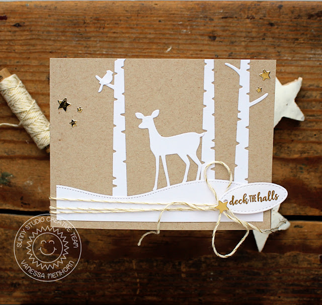 Sunny Studio Stamps: Rustic Winter Dies Woodland Borders Christmas Luminary Card with Vanessa Menhorn