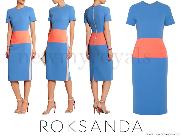 Kate Middleton wore ROKSANDA Marwood color-block wool-crepe dress