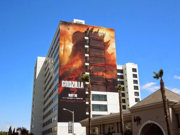 Giant Godzilla movie billboard Sunset Strip