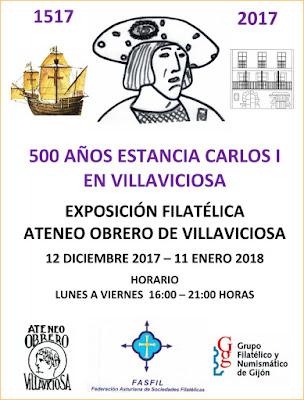 Cartel del 500 aniversario de la estancia de Carlos I en Villaviciosa