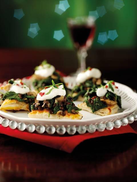 Wild Mushroom, Spinach & Puy Lentil Gallates with Chilli & Garlic Yoghurt …
