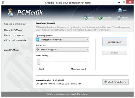 برنامج pcmedik لتسريع الكمبيوتر وحل مشكلات الويندوز
