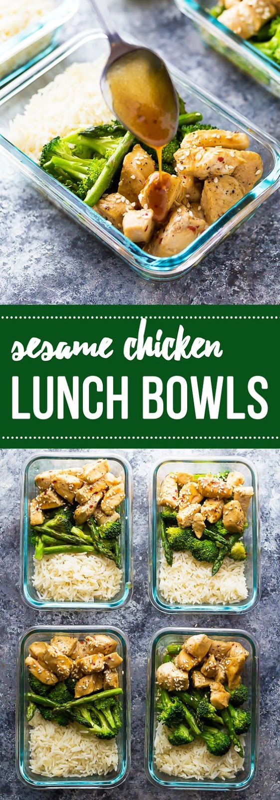 Honey Sesame Chicken Lunch Bowls #honey #sesame #chicken #chickenrecipes #lunch #lunchrecipes #bowls #easylunchrecipes