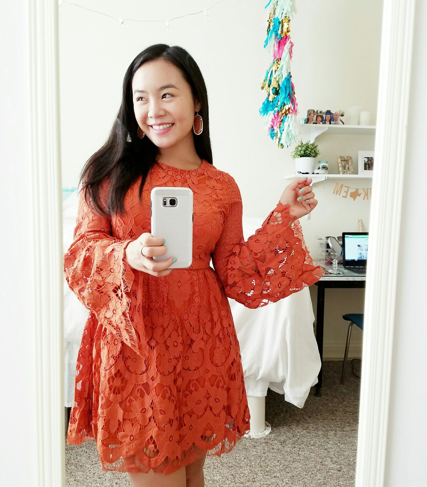 burnt orange UT dress | The Bella Insider